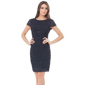 JS COLLECTIONS Short Sleeve Mesh Cocktail Dress